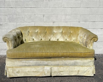 Vintage Loveseat Fabric Hollywood Regency Tufted Sofa Couch Glam Lounge Seating Settee Bohemian Boho Chic Milo Design Bedroom Bench