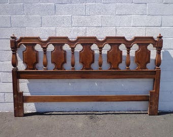 Headboard Bed Mid Century Modern Hollywood Regency French Provincial Neoclassical Shabby Chic Boho Glam Vintage Wood Bed CUSTOM PAINT AVAIL