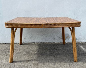 Antique Vintage Rattan and Cane Dining Table Bohemian Boho Chic Kitchen Paul Frank Style Mid Century Modern Tropical Coastal Miami Beach