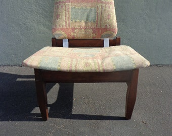Chair Mid Century Modern MCM Danish Teak Style Seating Lounge Accent Living Room Wood Chair Seating Vintage Furniture