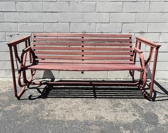 Vintage Patio Swing Sofa Glider Loveseat Wood Metal Mid Century MCM Outdoor Furniture Pool Bench Rustic Primitive Chippy Retro Seating