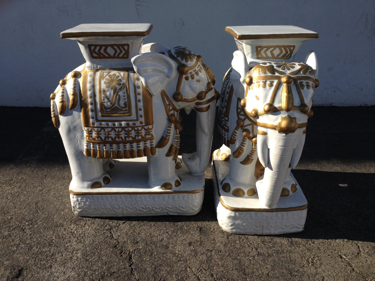 2 Vintage Elephant Garden Stool Plant Stand Chinoiserie