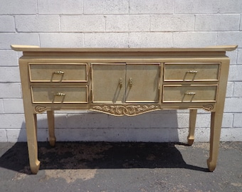 Console Table Cabinet Sideboard Wood Table Asian Inspired Pagoda Regency Chinoiserie Bohemian Chic Media Storage Buffet CUSTOM PAINT AVAIL