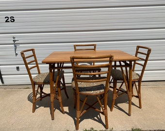 5pc Dining Set Rattan Faux Bamboo Chairs Table Hollywood Regency Chinese Chippendale Coastal Bohemian Boho Chic Wood Vintage Kitchen Wicker