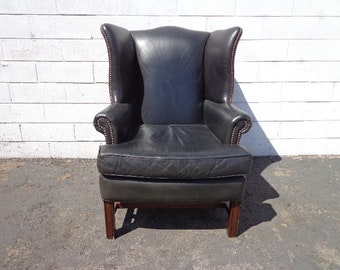 Leather Wingback Chair Black Lounge Armchair Chesterfield Handsome Rustic Chippendale Mid Century English Wingback Lounge Seating Accent