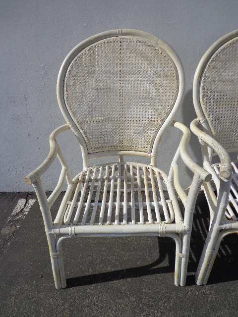 2 Rattan Chairs Chinoiserie Chinese Chippendale Vintage Bohemian Boho