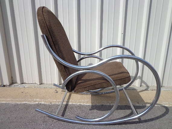 Mid Century Modern Chrome Bentwood Inspired Rocker Armchair | Etsy