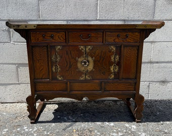 Antique Korean Cabinet Asian Pagoda Chinoiserie Boho Chic Apothecary Chest Etagere Display Case Console Storage Glass Brass Bookcase Shelves
