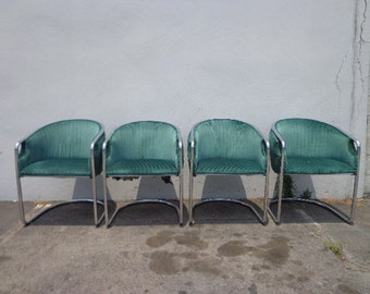Set of Chairs Armchairs Milo Baughman Style Chrome Metal Mid Century Modern MCM Hollywood Regency MCM Dining Retro Vintage Chair Seating