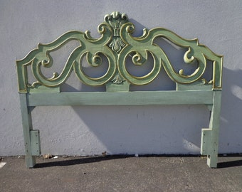 Antique Wood Headboard Carved Wood Ornate Style Elegant Boho Regency Romantic  Neoclassical Full Queen Size Bed Chic CUSTOM PAINT AVAIL