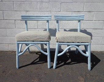 Pair of Rattan Chairs Seating Bohemian Boho Beach Bentwood Asian Chinoiserie Bamboo Vintage Mid Century Modern Furniture Seating Peacock