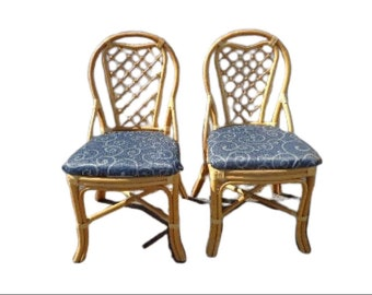 Pair of Rattan Chairs Woven Seat Bohemian Boho Chic Style Coastal Chinese Chippendale Chinoiserie Bamboo Miami Seating Desk Tropical Accent
