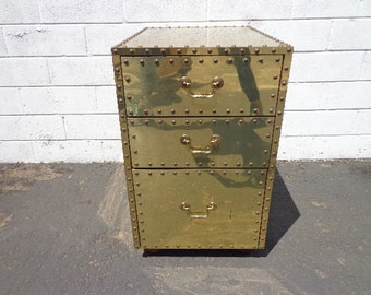 Sarried Chest Brass Gold Colored Trunk Storage Locker Regency Vintage Coffee Accent Table Storage Bench Hollywood Boho Glam Mid Century Mod