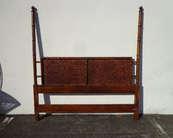 Antique Headboard Queen Bamboo Poster Vintage Rattan Wood Cane Peacock Bed Beachy Woven Chinoiserie Boho Chic Bohemian CUSTOM PAINT AVAIL