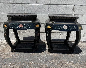 2 Stools Asian Inspired Chinese Lacquer Benches Seating Ottomans Chair Hassock Footstool Chinoiserie Asian Boho Hollywood Regency Chic