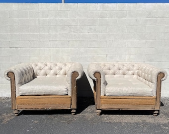 2 Deconstructed Chesterfield Chairs Deep Tufted Armchairs Chair Country French Shabby Chic Seating Vintage Burlap Wood Lounge English Pair