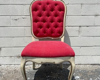Antique Vanity Chair French Provincial Boudoir Seating Bedroom Pink Glam Shabby Chic Victorian Boho Tufted Tufting Carved Regency Bench Seat
