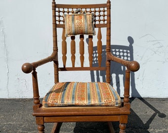 Antique Rocking Chair Rocker Armchair Spindle Traditional Shabby Chic Country French Glider Wood Nursery Room Furniture CUSTOM PAINT Avail