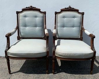 Pair of Antique Chairs Wood Armchairs Vintage Wood Lounge Club Regency Shabby Chic Seating Mid Century Chic Decor Wood Neoclassical Boho