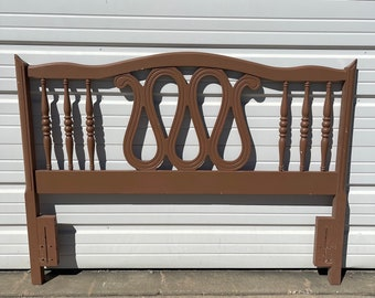 Vintage Headboard French Provincial Rococo Full Size Bedroom Furniture Wood Neoclassical Shabby Chic White Hollywood Regency Glam Bohemian