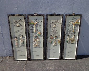 4 Asian Wall Panels Art Screens Headboard Chinoiserie Ming Century Vintage Boho Chinese Chippendale Campaign Regency Hollywood Mid Century