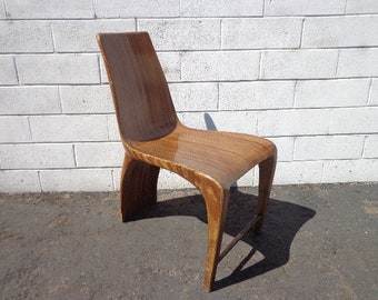 Antique Wood Abstract Chair Vintage Mid Century Modern Seating Retro Rustic Accent Chair