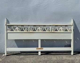 Antique Headboard Regency Empire French Provincial Hollywood Glam Bed King Size Neoclassical Coastal Chic Glamour Boho CUSTOM PAINT Avail