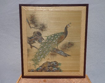 Peacock Framed Boho Chic Decor Decoration Chinoiserie Painted Style Art Picture Silk Hollywood Regency Vintage Print Mid Century Wall Decor