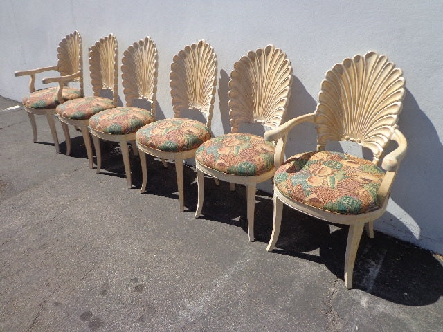 For genevieve armchairs italian carved wood seashell shell back