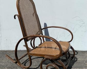 Antique Thonet Bentwood Rocker Armchair Rocking Chair Bohemian Boho Mid Century Modern MCM Glider Cane Wood Chair Nursery CUSTOM PAINT Avail