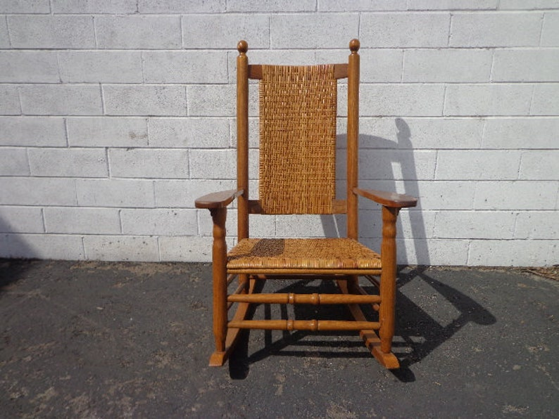 Enjoyable Antique Rocking Chair Rocker Armchair Woven Rush Mission Rustic Traditional Shabby Chic Country French Glider Wood Nursery Room Furniture Interior Design Ideas Inamawefileorg