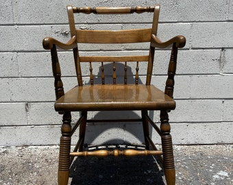 Antique Wood Spindle Armchair Vintage Country French Seating Primitive Farmhouse Rustic Shabby Chic Children's Kid Furniture Student Desk