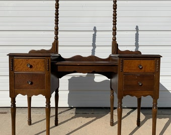 Antique Wood Vanity Desk Shabby Chic Victorian Makeup Table Storage Country French Farmhouse Victorian Bedroom Set Bohemian Boho Chic