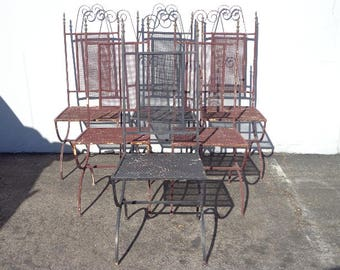 Antique Chairs Set of Iron Patio Outdoor Dining Rustic Primitive Reclaimed Farmhouse Boho Chippy Shabby Chic Vintage Bohemian Peacock Garden