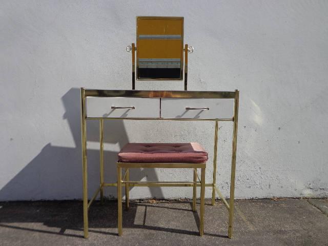 Tremendous 2Pc Vanity Table Hollywood Regency Brass Gold Desk Mirror Ibusinesslaw Wood Chair Design Ideas Ibusinesslaworg