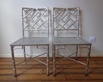 Chinese Chippendale Chair Silver Chrome Chic Regency Style Armchair Seating Woven Coastal Chinoiserie Bamboo Miami Seating Desk Mid Century