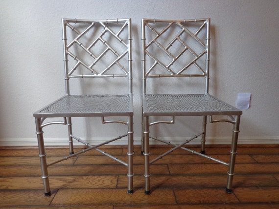 Chinese Chippendale Chair Silver Chrome Chic Regency Style Etsy