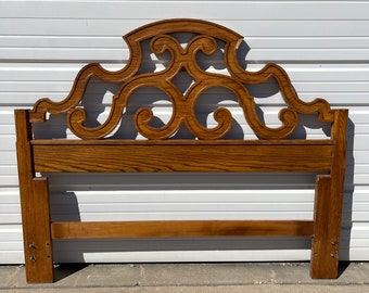 Antique Wood Headboard Carved Wood Ornate Style Elegant Boho Regency Romantic Neoclassical Full Queen Size Bed Chic Thomasville Furniture