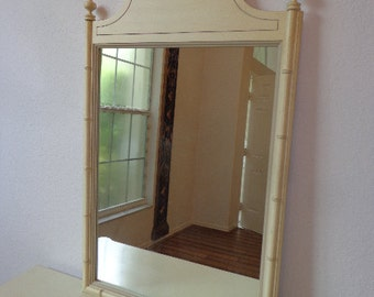 Mirror Wall Vintage Faux Bamboo Henry Link Pagoda Vanity Coastal Chinese Chippendale Beachy Chinoiserie Bedroom Boho Chic Hollywood Regency
