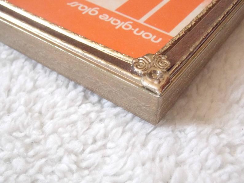 One Single Brass Frame Wooden Inlay 5x7 Anniversary Gift Wedding Present VINTAGE