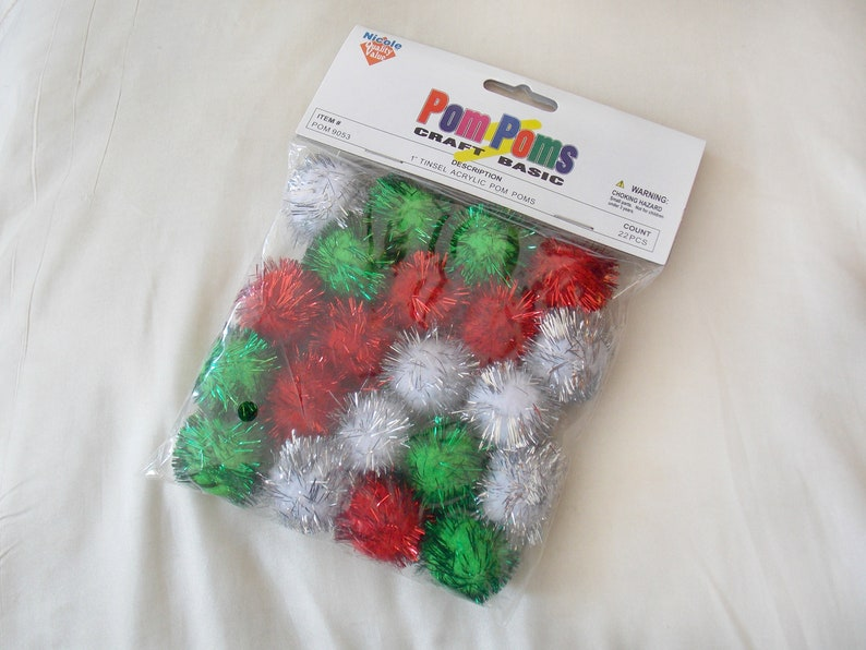 SUPPLY: Lot of 22 Mixed Tinsel Pom Poms Green White Red Silver Christmas  Festive DIY Crafty Shiny Shimmery Sparkle