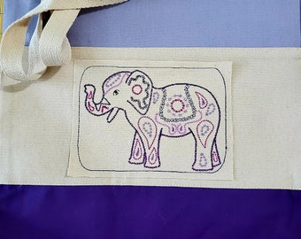 Canvas Tote with Embroidered Mandala Elephant Patch