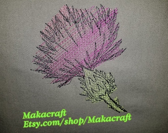 Decorative Pillow with Embroidered Thistle
