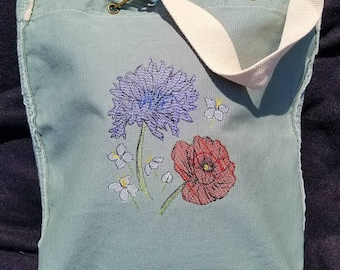 Canvas Tote Bag with Embroidered flowers. UNIQUE to MaKaCraft!