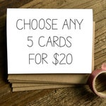 5 Pack of Cards - Choose Any Five. Card Set. Card Pack.