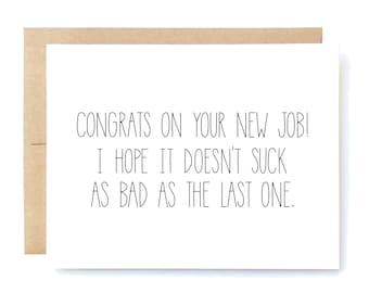 Funny New Job Congratulations - New Job Card - New Job Congrats - Congrats on Your New Job.