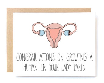 Funny Pregnancy Card - New Baby Card - Pregnancy Card - Lady Parts.