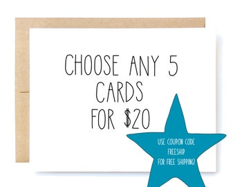5 Pack of Cards - Discount Card Set - Card Pack.