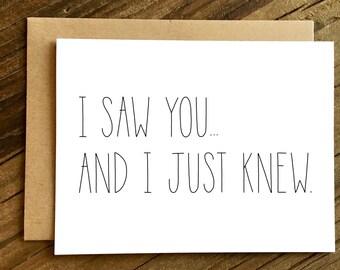 Love Card - Anniversary Card - Boyfriend Card - Girlfriend Card - I Just Knew.