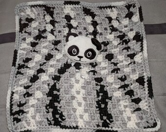 Crochet Panda Lovey Security Blanket